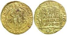 HOLLAND-PROVINCIE--1581--1795--Ducat-1645-3.47g.-Delm.-774