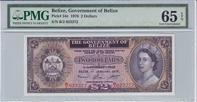 BELIZE P.34c - 2 Dollars 1976 PMG 65 EPQ