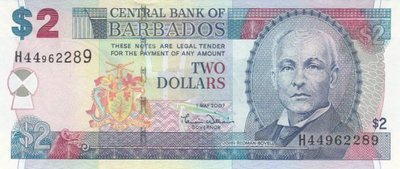 BARBADOS P.66a - 2 Dollars 2007 UNC
