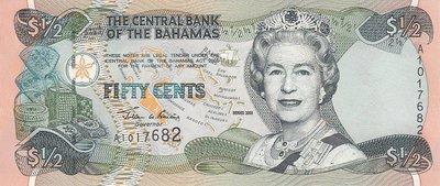 BAHAMAS P.68 - 1/2 Dollar 2001 UNC