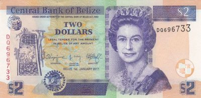 BELIZE P.66f - 2 Dollars 2017 UNC