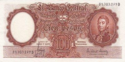 ARGENTINA P.272c - 100 Pesos ND 1957-67 XF