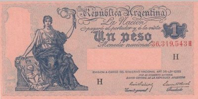ARGENTINA P.251a - 1 Peso ND 1935 XF