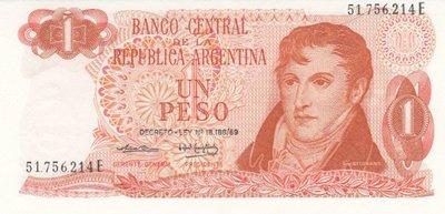 ARGENTINA P.287a - 1 Peso ND 1970-73 AU