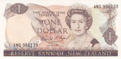 NEW ZEALAND P.169c - 1 Dollar ND 1989-92 AU