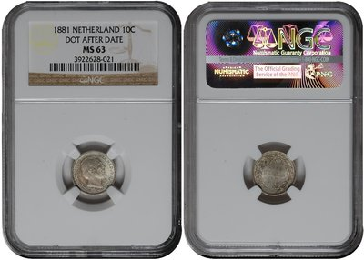 NETHERLANDS, 10 Cent 1881 NGC MS 63