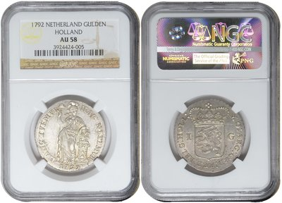 HOLLAND, Gulden 1792 NGC AU 58