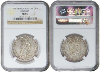 UTRECHT, Gulden 1794 NGC AU 55