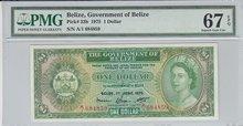 BELIZE-P.33b-1-Dollar-1975-PMG-67-EPQ