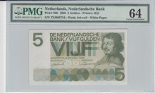 NETHERLANDS-P.90b-5-Gulden-1966-PMG-64