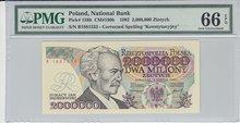 POLAND-P.158b-2000.000-Zlotych-1992-PMG-66-EPQ