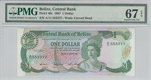 BELIZE-P.46c-1-Dollar-1987-PMG-67-EPQ