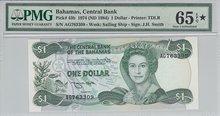 BAHAMAS-P.43b-1-Dollar-1974-PMG-65-EPQ
