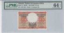ALBANIA-P.11-10-Lek-ND1940-PMG-64-EPQ
