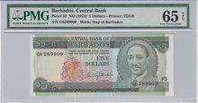 BARBADOS-P.32-5-Dollars-ND1973-PMG-65-EPQ