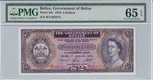 BELIZE-P.34c-2-Dollars-1976-PMG-65-EPQ