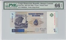 CONGO-DEM.-REP.-P.85a-1-Franc-1997-PMG-66-EPQ