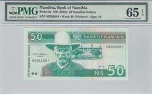 NAMIBIA-P.2a-50-Dollars-ND1993-PMG-65-EPQ