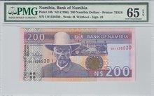 NAMIBIA-P.10b-200-Dollars-ND1996-PMG-65-EPQ