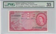 BRITISH-CARIBBEAN-TERRITORIES-P.7c-1-Dollar-1958-64-PMG-35