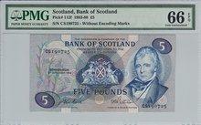 SCOTLAND-P.112f-5-Pounds-1984-PMG-66-EPQ