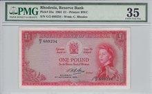 RHODESIA-P.25a-1-Pound-1964-PMG-35