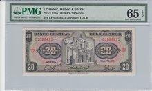 ECUADOR-P.115b-20-Sucres-1980-PMG-65-EPQ