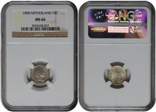 NETHERLANDS-10-Cent-1890-NGC-MS-66