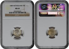 NETHERLANDS-10-Cent-1889-NGC-MS-65