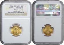 PRUSSIA-Friedrich-III-10-Mark-1888A-GOLD-NGC-MS-63