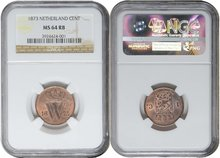 NETHERLANDS-1-Cent-1873-NGC-MS-64-RB