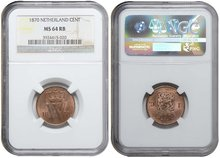NETHERLANDS-1-Cent-1870-NGC-MS-64-RB