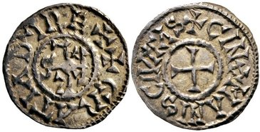CAROLINGIANS--Charles-II-the-Bald-840-877-Denar-1.76g.-Mec-872